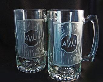 Monogrammed Custom Beer Mugs - Rustic Wedding - Custom Barware - Personalized Mugs - Fathers Day Gift - Man Cave Gift