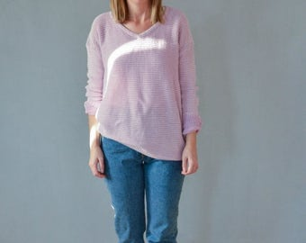 SALE Lavender Cotton Knitted Sweater Vintage 90's slouchy sweater