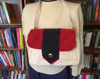 SWEET in SUEDE-- Adorable 1960s Nautical Handbag in Heavy Sailcloth and Suede