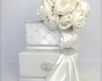 Wedding Card Box Bride's Bouquet Wedding Card Holder, Wedding Card Box,  Custom Card Box, Handmade, Gift Card Boxes,  Wedding Gift Box