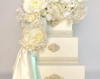 Wedding Card Box, Teal Blue Elegant Unique Reception Box, Gift Cards, Three Tier, Elegant, Boxes, Gift Card Box, Secure Lock,