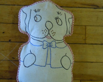 "Vintage dog/puppy pillow  embroidered, 1940's  outline shaped cotton   7.5""  x 12"""