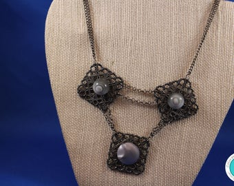 Vintage Button and Filigree Gray and Gunmetal Necklace