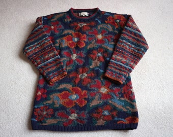 Stunning wool winter floral handknit sweater navy deep reds Monsoon S / M