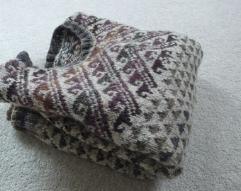 Norwegian style handknit wool sweater small adult or teen browns