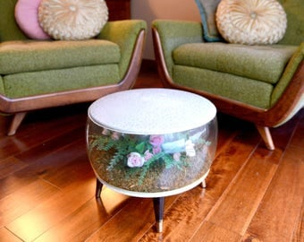 Mid century modern, Footstool, Ottoman, Inflatable Terrarium, Kitsch, pink Roses, Flowers, Pink and Green, uncommon vintage fun