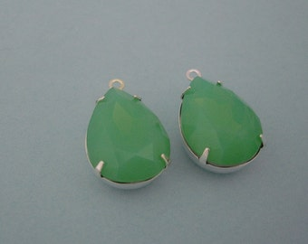 Green  Opal Crystal Faceted Glass Pear Teardrop in Sterling Silver Plated Brass Settings 1 Loop Charm 18 x 13 mm   Closed Back (2pcs).