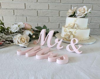 Wedding table decoration wooden cut out  letters Mrs and Mr in BLUSH (we call it PALE PINK) - wedding table signs Mr and Mrs for top table