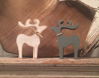 Pair of Standing Reindeer, Small, 10cm high, other sizes available, any colour, distressed, rustic, Price is for a pair