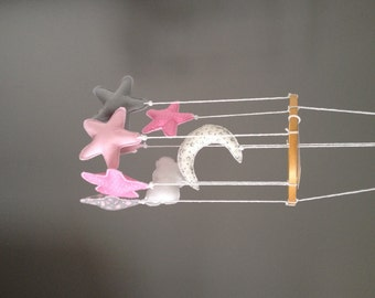 Pink/Grey Moon and Stars Baby Nursery Mobile