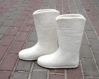 Winter wedding, White bridal boots, felted white eco fashion boots, Wet felted boots, outdoor, women US 5 to 10, Made to order!