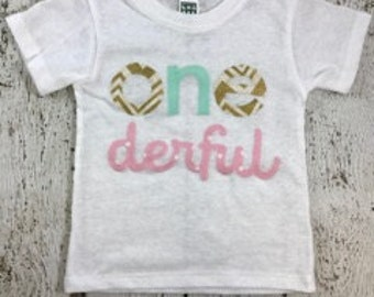 onederful shirt, onederful party, one decor, Girl's birthday shirt, mint and gold, girl's birthday outfit, pink and gold birthday decor