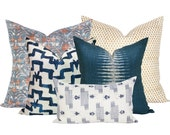 Spark Modern Curated Collection #13 - Khotan Rubia, Bindi Gold, Tulu Indigo, Ikat Peacock, Yamato Asa - 5 pillow covers
