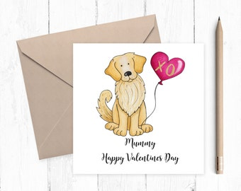 Golden Retriever Valentine Card - Golden Retriever - Valentine card - ideal for dog lovers - free uk shipping