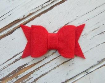 Red Bow Hair Clip - Bow Hair Clip - Christmas Bow Hair Clip - Christmas Hair Clip - Red Bow Hair Clip