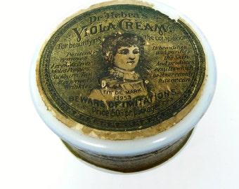 Antique Dr. Hebra's Viola Cream Jar