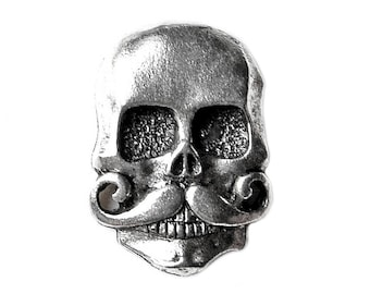 Skull with Mustache Lapel Pin