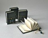 Ring in 2017 - SaLe - Four Tiny Concertina Style Blank Books Covered with Black on Black Botanical Papers for Gifts or Favors