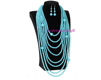 Hand-woven 8 layers Turquoise bead Necklace with Earrings set Chunky Necklace Bridesmaid Necklace Wedding Party Jewelry Sweaters Necklace