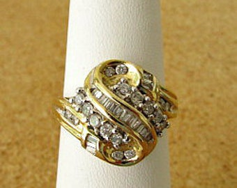 vintage 80s 1 carat round and baguette diamond cluster ring 10k yellow gold size 7.5 cocktail ring free shipping