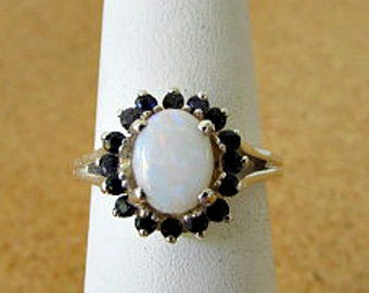 Vintage 80s genuine opal and sapphire sterling ring 7 925 silver halo ring  free us canada shipping