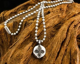 Hand Made 925 Sterling Silver Gothic Dawn Seal Cross Pendant and Ball Chain Necklace / Charm