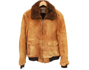 "Vintage 1980's COOPER Leather Bomber jacket Sherpa - L 42"" (26077)"