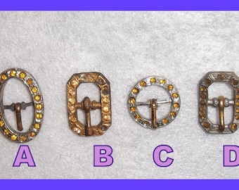 Victorian Mini Shoe Buckles, Early Art Deco, Amber Rhinestones, Steampunk, Mixed Media, Junk Journals