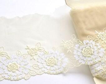 Champange and White Floral Lace Trim, Wedding Dress Lace, Dark Ivory and White Bridal Lace, Wedding Veils, Mantilla