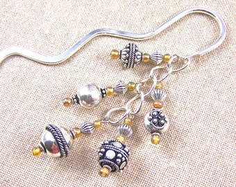 Bookmark Silver Plated Fancy Exotic Beads - Golden Amber Glass Beads - Silver Plated Shepherd Hook Page Marker Book Mark