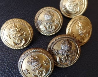 """Antique Military Buttons WWII British Navy Reserves Lot of 6 Gold Brass 7/8 """" Crown Anchor English RR Uniform 22mm"""
