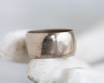 Old Wide Wedding Band Ring - Silver Toned size 6.5 - Pinky Finger Ring