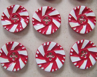 1930's plastic buttons 20mm, 24 vintage casein buttons, Art Deco galalith plastic button made in Germany, red white pinwheel pattern buttons