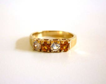 Vintage Amber and Clear Rhinestone Ring, Size 8