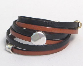 Black and Brown, Mixed Metals, Wrap Bracelet, Whirly Wrap, Classic, Elegant, Silver Pebble, Brass and Silver, Secure Magnet,