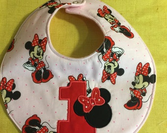 1st Minnie Mouse Baby Insulated Bib, Pink, Red, Black Fits 3+ Months - Ready To Ship