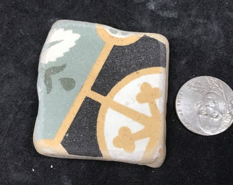 Chunky Scottish Sea Pottery, Large Beach Pottery, Varied Color Pattern, Collectors Sea Find, Beach Combed Treasure from Scotland