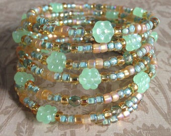 Memory Wire Bracelet in Shades of Pastel Green and Light Amber Glass Beads- Gilded Flora