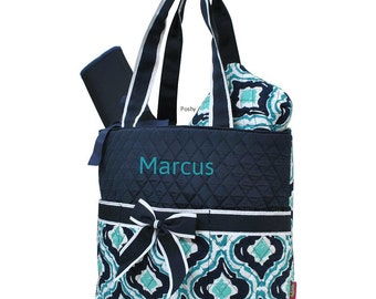 Personalized Diaper Bag in a Teal and Navy Ikat Print 3PIECE