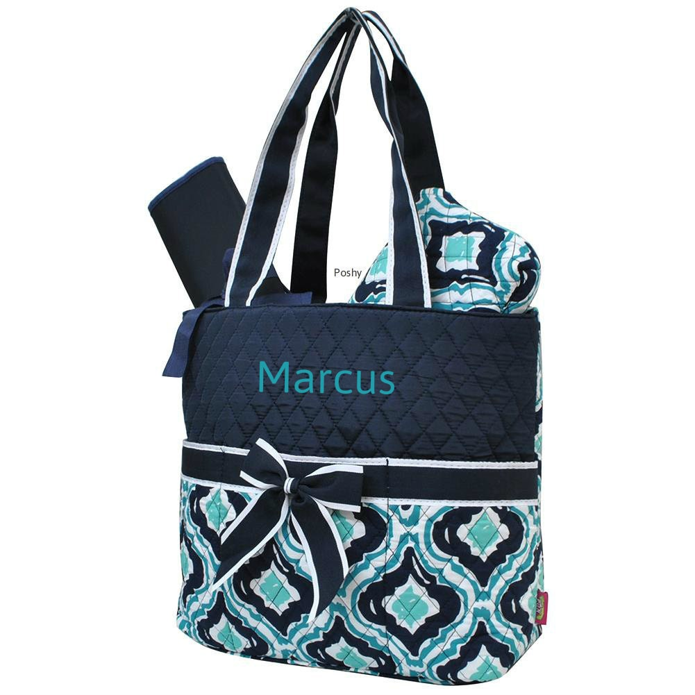 personalized diaper bag in a teal and navy ikat print 3piece. Black Bedroom Furniture Sets. Home Design Ideas