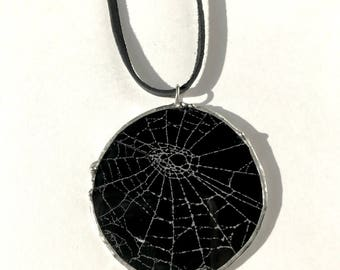 Real Spider Web Necklace Preserved in Glass on Leather