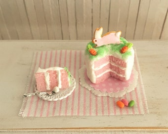 Miniature Easter Cake With Bunny And Carrots On Top