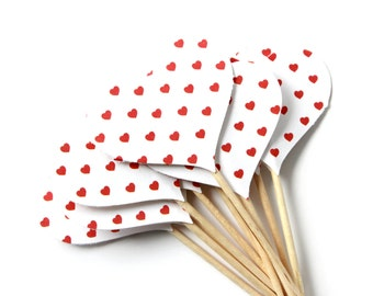 Red Heart Cupcake Toppers, Valentines Day Party, Wedding, Food Picks