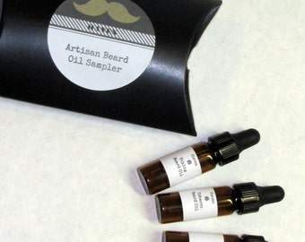 Mens Beard Oil Sampler pack of 3 . Organic Artisan Blend of Conditioning Oils with Argan and jojoba