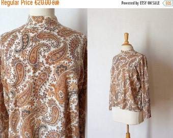 50%WINTERSALE 60s white brown kaki paisley printed knit sweater L