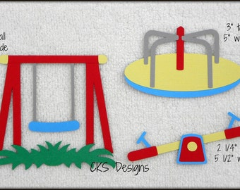 Die Cut Park Playground Swing Merry Go Round Scrapbook Page Embellishments for Card Making Scrapbook or Paper Crafts