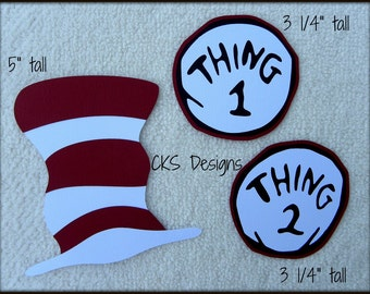 Die Cut Dr Suess Hat and Thing 1 & 2 Tag Scrapbook Page Embellishments for Card Making Scrapbook or Paper Crafts