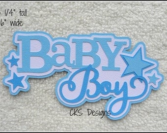 Die Cut Baby Boy TITLE Scrapbook Page Embellishments for Card Making Scrapbook or Paper Crafts