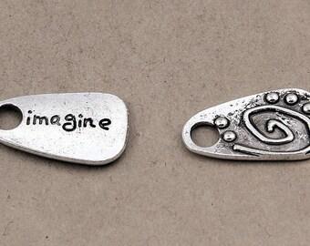 "6pcs-""imagine"" charm, antique silver tone teardrop tag Charm"