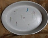 """Vintage 1950's Denby Stoneware """"Dream"""" Large Oval Serving Dish Designed by Albert Colledge"""